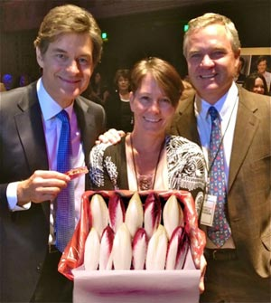 Dr. Mehmet Oz, with Shelly and Rich Collins, founders of Californian Endive Farms, the major endive producer in America.