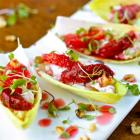 Endive stuffed with goat cheese, blood orange and walnuts