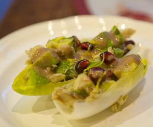 Endive Boats with Avocado, Pomegranate, and Crab Salad