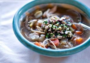 Chicken, Endive and Root Vegetable Soup with Endive Parsley Pesto
