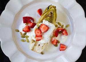 Grilled Endive with Strawberries, Pepitas, and Feta Cheese Dressing