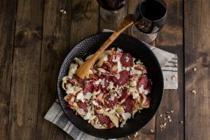 Endive Salad with Grilled Salami & Pears